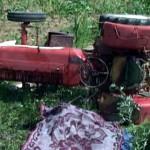 Baut bine, s-a rasturnat cu tractorul in sant